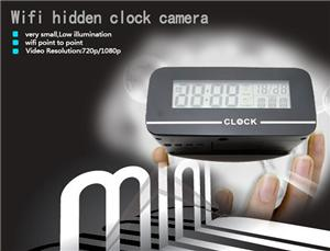 Mini WiFi Camera Clock DV Real Time Security Monitor by App in Phone Ipad ,PC