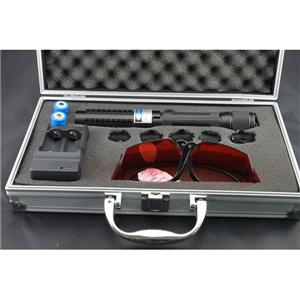 Wholesale LM-820 1000mw  blue laser pointer flashlight  with rechargable battery goggles laser caps burning lasers